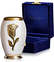 Nazareth Store Beautiful Small Keepsake Cremation Urn for Human Ashes Elite Pearl White and Gold Rose Flower, Hand Made 100% Brass Miniature Memorial Funeral Urns for Sharing Ashes - with Velvet Bag