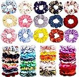 Haquno 40 Colores Coleteros Terciopelo, Velvet Hair Scrunchies, Elástico Gomas de Pelo Para Mujeres Niñas Accesorios