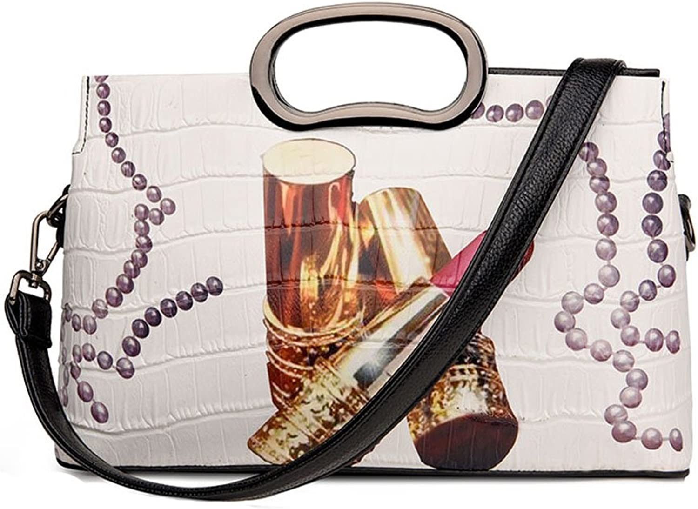 BalaMasa Womens Fashion Square Printing Handle Handbag