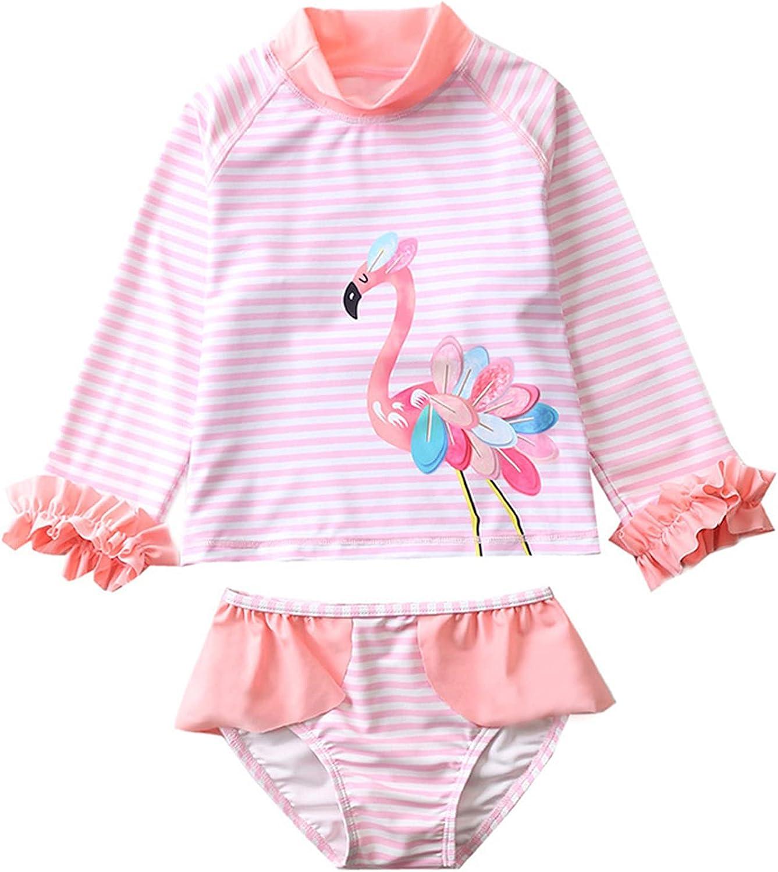Baby Girls Kids 2-Piece Rash Guard Long National uniform Portland Mall free shipping Swim Flamingo Sleeve Set