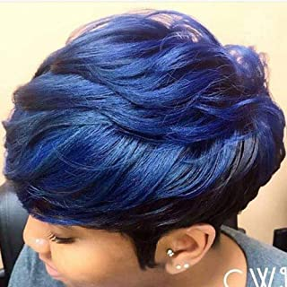 BeiSD Short Mixed Blue Black Hair Wig Colorful Short Synthetic Wigs for Black Women Short Haircuts for Women