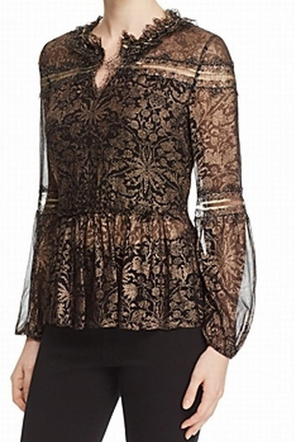 Tahari Womens Black Ruffled Lace Floral Long Sleeve V Neck Peasant Top US Size  M