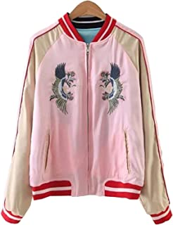 Women's Reversible Crane Tiger Embroidery Bomber Jacket Japanese Style Pink Blue
