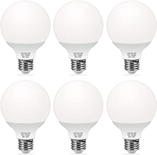 TechgoMade G25 LED Bulb, Globe Bulbs 9W LED (60W Equivalent) Decorative Globe Vanity Light Bulbs, Round, Medium Base E26, Non-Dimmable, Perfect For Bathrooms Mirror Lighting, Soft White 3000K (6 Pack)