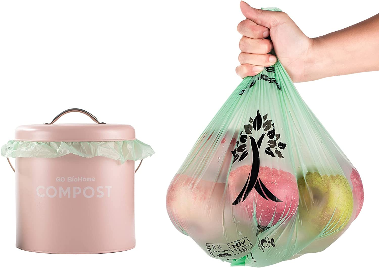 Compostable & Biodegradable Trash Bags, 3 Gallon,11.35 Liter, 100 Count, Extra Thick and Strong 0.75 Mils, Leak & Odor Control, Kitchen Garbage Waste Compost Bags, US BPI and Europe OK Compost Home highest Certified