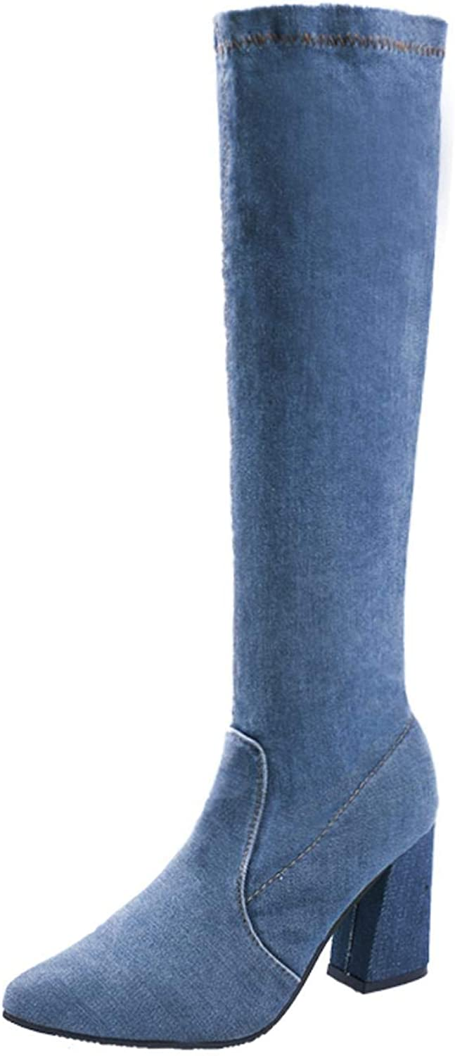 Women's slim body with sexy knee-high heels snow boots