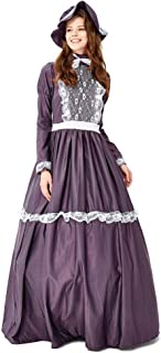 Vintage Costume Dress Suit,Womens Renaissance Medieval Ball Dress with Hat Halloween Cosplay Outfit