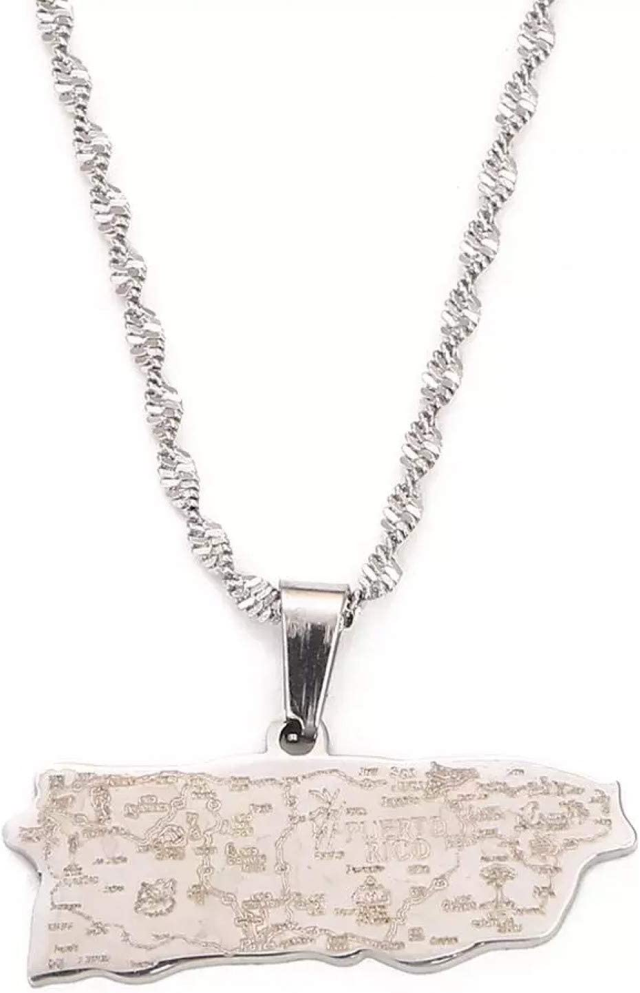 N A Necklace Pendant Stainless Color Steel Puerto Silver Max 85% OFF Rico Sacramento Mall