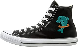 Shenigon Hula-Hoop Dolphin Canvas Shoes High Top Design Black Sneakers Unisex Style