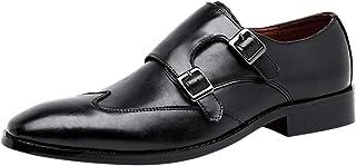 Zapatos de Piel para Hombre Clásico Doble Hebilla Monkstrap Mocasines Sin Cordones Derby Negro Marrón