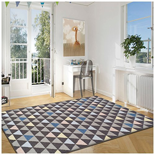 Superior Pastel Aztec Collection Area Rug, 6mm Pile Height with Jute Backing, Affordable and Contemporary Rugs, Multicolored Geometric Pattern - 5' x 8' Rug, Slate