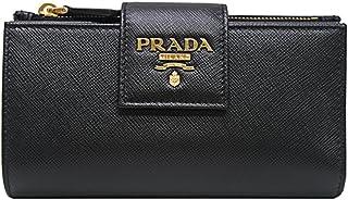 [プラダ PRADA] レディース ゴールドロゴ ダブルフォールディング 二つ折り財布 ブラック [並行輸入品]