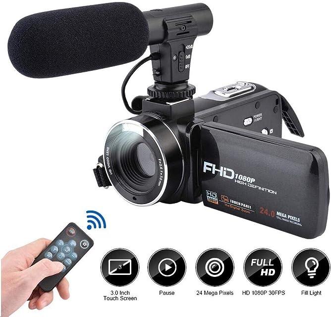Videocámara Cámara de Video Full HD 1080P CamKing 24.0MP 16X Cámara de Video Digital con Micrófono Externo y 3.0 Pulgadas IPS Pantalla Táctil Zoom Cámara Digital Grabadora