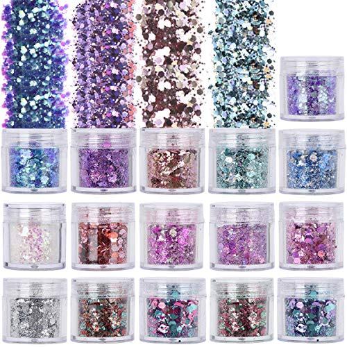 16 Colors 10ml Holographic Chunky Glitter, TEOYALL Face Body Nail Art Cosmetic Glitter Craft Festival Chunky Fine Mixed Glitter
