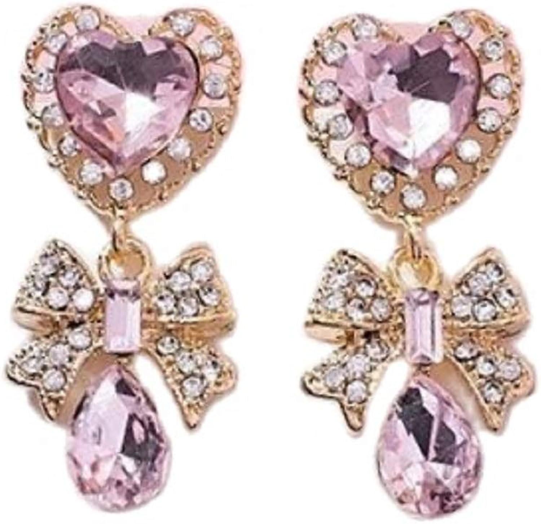 Elegant Baroque Crystal Heart Bow Stud Earrings Shiny Rhinestone Sweet Purple Pink Heart Bow-knot Birthday Gifts for Women Girls