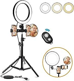 Anillo de Luz led10 Ring Light 3200-6500K Temperatura de Color Brillo Regulable (0%-100%) Control Remoto Inalambrico para Movil fotografia Youtubey Selfie Video de Maquillaje