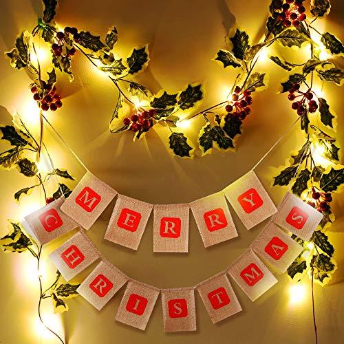 Luces de Banner de Navidad Guirnalda de Arpillera Merry Christmas Luces de Cadena de Ratán de Frutos Rojos Impermeables Funcionadas por Pilas de 20 LEDs 6,6 Feet para Decoraciones Navideñas