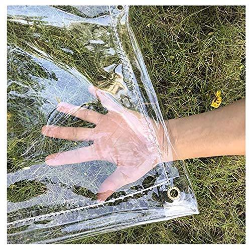 SHIJINHAO 0.3mmTransparent PVC Waterproof Tarpaulin Thicken Rain Protection Tarp Soft Plastic Balcony Rain Curtain Sun Protection Tarp With Eyelets 400gsm,33 Sizes (Color : Clear, Size : 4x6m)