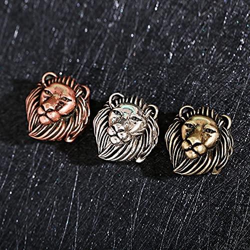 CNZXCO 5pcs Perlas de barba, Vintage Cobre Chapado En La Cabeza León Chapado A 18k, Cobre Chapado En Oro De 18 Quilates Con Zirconia Cúbica Ojos Verde Leopardo 3d Leopardo Cabeza, Vintage Dragón Malva