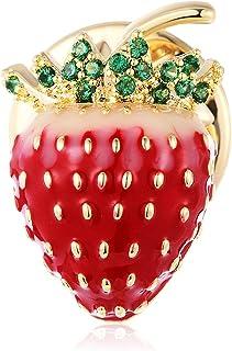 Spilla piccola con colletto alla fragola Spilla per donna Zircone Nuova spilla in rame Gioielli di abbigliamento di moda
