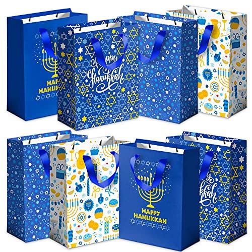 Joy Bang Hanukkah Gift Bags Hanukkah Party Favor Bags Happy Hanukkah Goodie Bags Chanukah Large Paper Bag for Hanukkah Party Supplies Favors