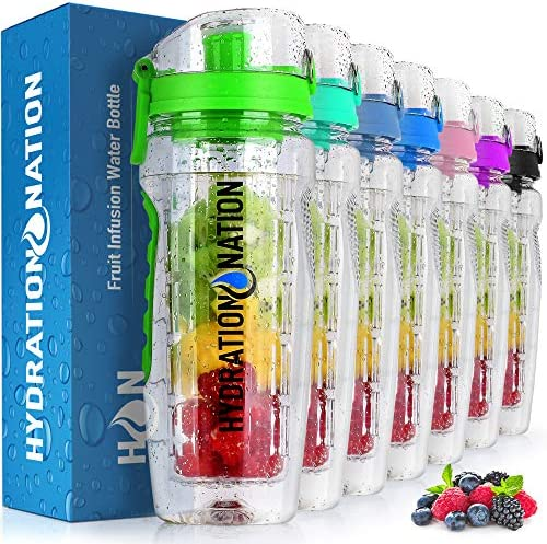 Hydration Nation 34oz Fruit Infuser Water Bottle BPA Free Water Infuser Bottle with Dual Non product image