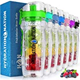 Hydration Nation 34oz Fruit Infuser Water Bottle - BPA Free Water Infuser Bottle with Dual Non-slip Grip & Flip Top Cap...