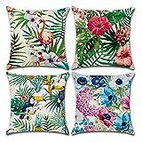 BECOSIM - Juego de 4 fundas de cojín de lino de algodón con diseño de flamencos y funda de almohada cuadrada sin relleno para sofá, dormitorio, oficina, silla, coche, 45 x 45 cm