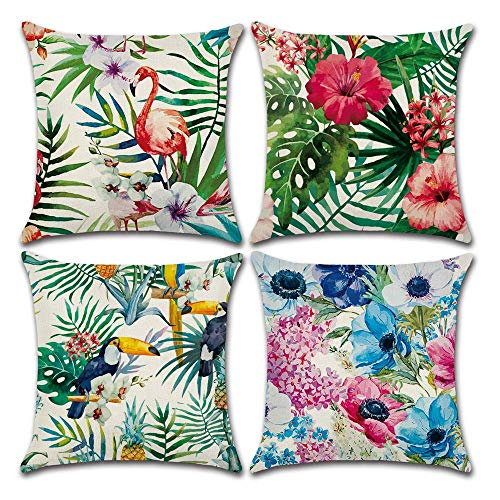 BECOSIM - Set di 4 federe per cuscini in lino di cotone con fenicottero quadrati, per divano, camera da letto, ufficio, sedia, auto, 45 x 45 cm