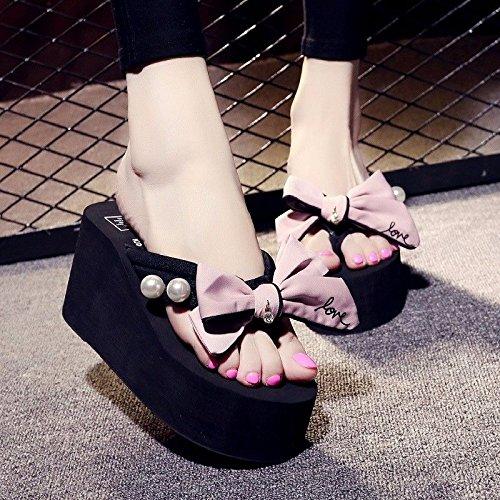 LIUXINDA-XZ Britse mode Slippers zomer vrouwen dikke bodem anti slip boog, flip flops, Koreaanse hoge hakken strand schoenen