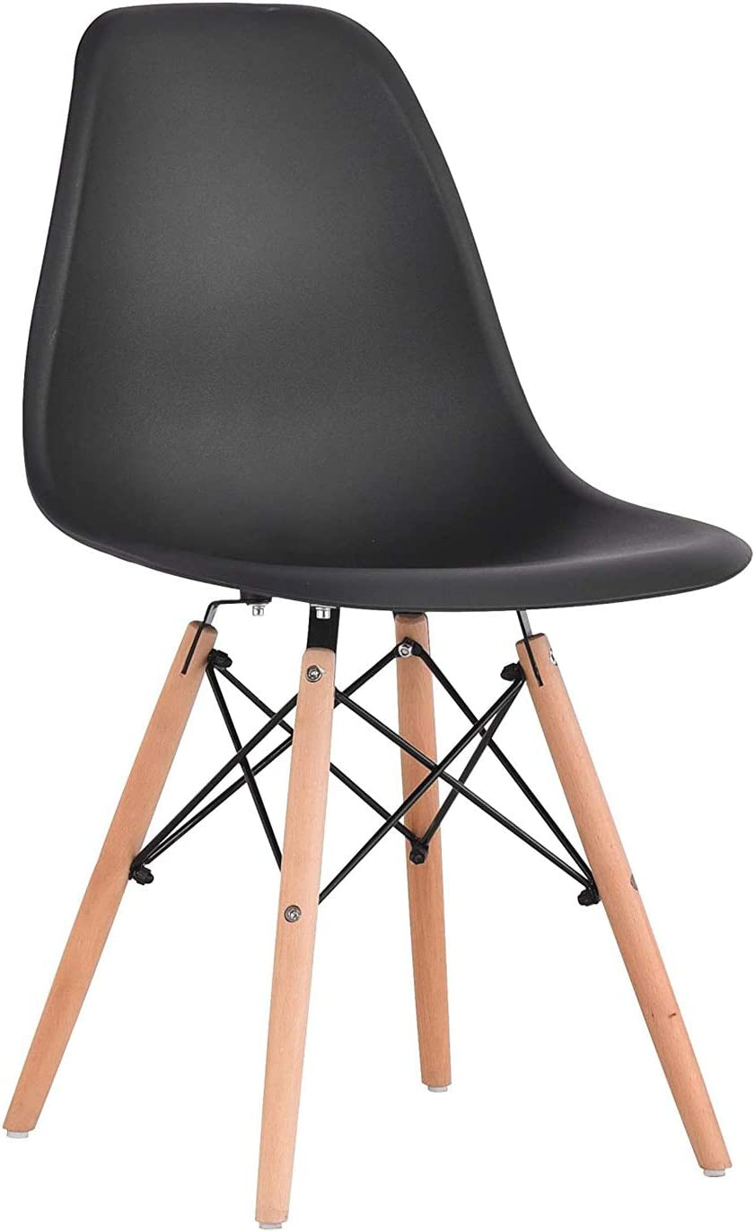 BenyLed Lot de 6 Chaises de Salle à Manger Contemporaines en Plastique Design Rétro Chaise D'appoint pour Salle à Manger, Cuisine, Bureau, Restaurant, etc (Blanc) 6 - Noir
