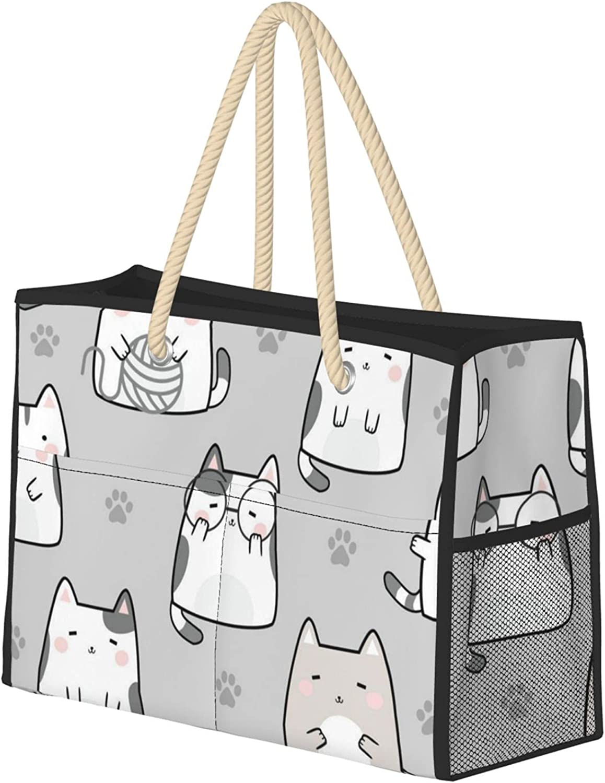 Cute Cat Background New Free Shipping Beach Bag Tote Extra Seasonal Wrap Introduction Large Folda