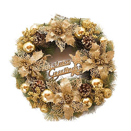 belupai Coloré De Luxe Guirlandes De Noël avec des Arcs Décorations Intérieur Extérieur Artificielle Boules De Noël Guirlande pour Arbre Porte Suspendu (Or)