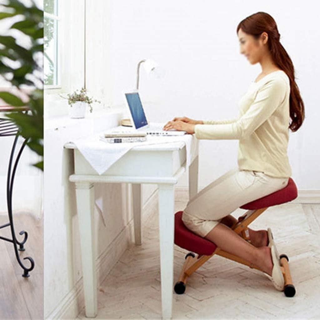SMLZV Genoux Chaise, ergonomique réglable Genoux Chaise en bois Posture Tabouret Angle ajustable en hauteur, Convient for la méditation de jeu travail sur ordinateur (Color : B) D