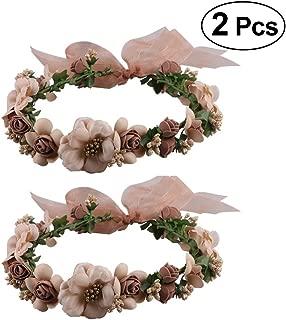 Frcolor Vendas de la corona de la flor, guirnalda floral Vendas de la guirnalda del pelo de la guirnalda para los apoyos de la fotografía de la fiesta del festival de la boda, 2pcs