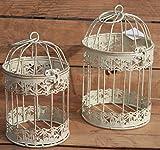 Moritz® – Gabbia decorativa portacandela antivento, gabbia per piante, gabbia per uccelli, set da 2 pezzi giardino shabby bianco