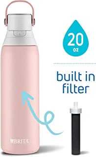 Brita 20 Ounce Premium Filtering Water Bottle with Filter - Double Wall Insulated Stainless Steel Bottle - BPA Free - Rose and Assorted Colors