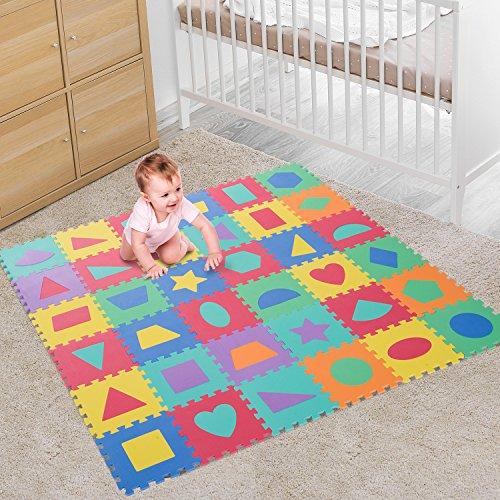 HOMCOM 36 Piezas Alfombra Puzzle Niños 31x31x1 cm con 18 Figuras Geométricas Colchoneta Suave 3,24 m² de Espuma EVA Lavable Juego Rompecabezas Bebé Multicolor