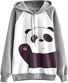 Women Blouse Daoroka Ladies Panda Cute Cartoon Hoodies Long Sleeve Casual Loose Fashion Sweatshirt Pullover T-Shirt Tops Coat (M, Gray)