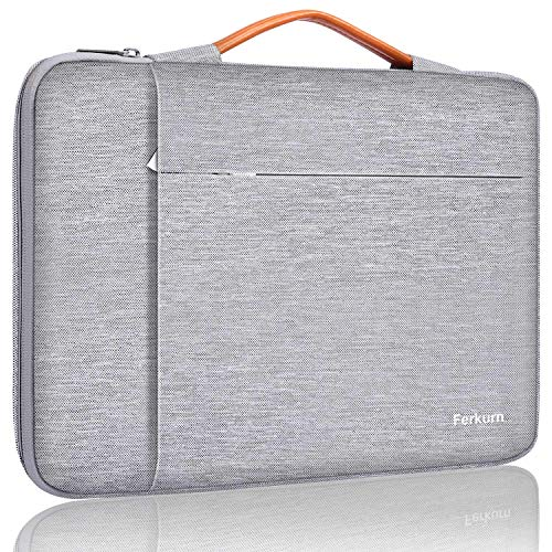 Ferkurn 13-13.5 Inch Laptop Sleeve Case Protective Bag with Handle Compatible with MacBook Pro 13', MacBook Air 13.3', Surface, XPS, HP, ASUS, Acer, Waterproof cover with Pocket,Light Gray