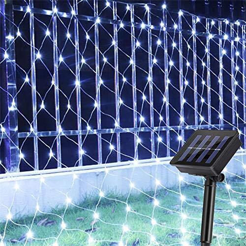 AMARS Garden Solar Net String Lights Outdoor Backyard Twinkle Decorative Fairy Lights 8 Modes Waterproof Bush Blanket Lights for Patio Tree Fence Wall Lawn Window (9.8ftx6.5ft 204leds, White)