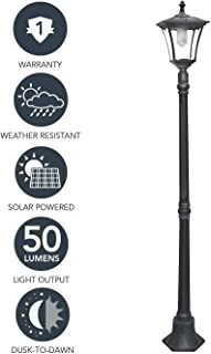 "Sterno Home GL23716BK Outdoor Solar LED Street Light, for Patio, Post Light, Garden, 80"" High, 1-Pack, Black"