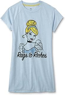 Disney Womens Regular Plus Size Character Nightgown Sleepwear Pajama Night Shirt (Cinderella Blue, S/M)