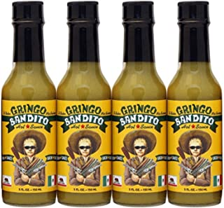 Gringo Bandito Hot Sauce, Green, 5 Ounce (Pack of 4)