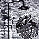 Grifo de ducha de latón negro grifo de ducha mezclador inversor
