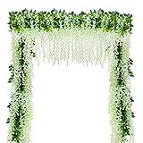 YQing Kunstblumen, künstliche Glyzinien, Heimdekoration, jeder Strang ist 110 cm lang, aus Seide, für Hochzeiten, zu Hause, Garten, Party, 12 Stück (weiß) - 5
