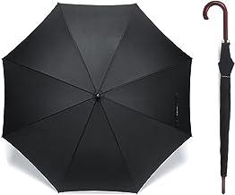 Automatik Reise Regenschirm - Klassischer Stockschirm 121 cm / 48 Zoll Geeignet für Herren Männer Damen Sturmfest Winddichter Leicht Stabiler Holzgriff Regenschutz Schirme für 2 Personen - Schwarz