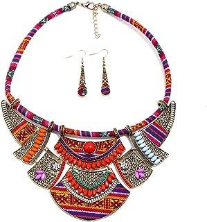 QIYUN.Z Resina De Plata Antigua ovalo Collar De La Mujer Colgante De Cadena Pendiente del Conjunto De Joyas Retro