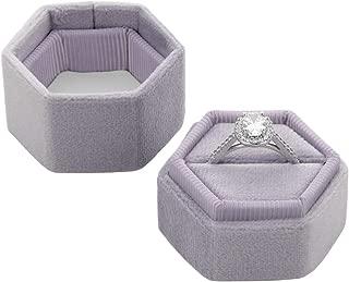 Koyal Wholesale Velvet Ring Box, Hexagon Vintage Wedding Ceremony Ring Box with Detachable Lid, 2 Piece Engagement Ring Box Holder, Modern Proposal Idea (Iris)