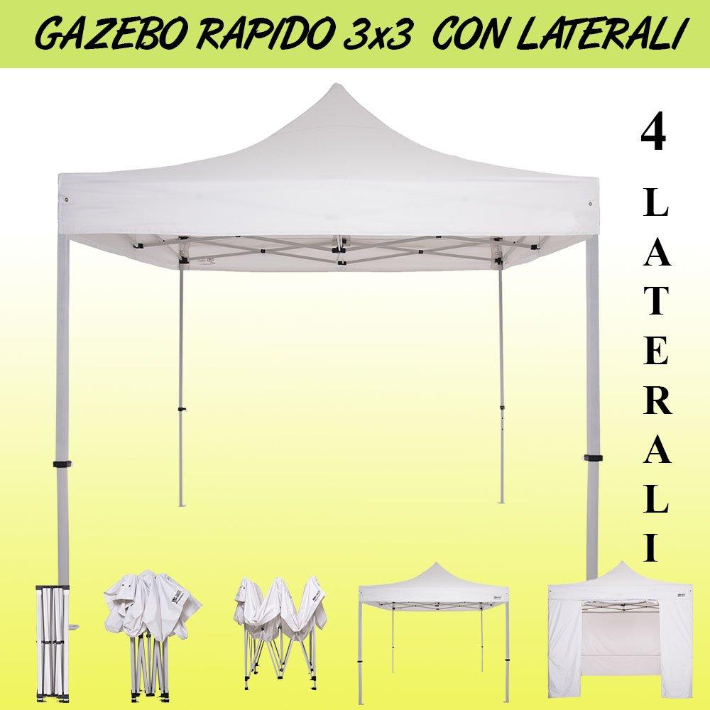 RAY BOT Carpa Plegable 3 x 3 Azul + 5 Laterales + 4 Sacche Pesas a Terra: Amazon.es: Jardín